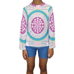 Mandala Design Arts Indian Kids  Long Sleeve Swimwear