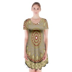 Mandala Art Ornament Pattern Short Sleeve V Neck Flare Dress