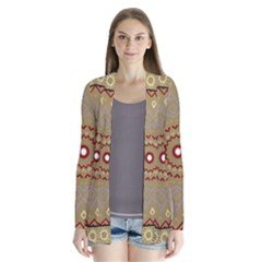 Mandala Art Ornament Pattern Drape Collar Cardigan