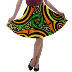 Celtic Celts Circle Color Colors A Line Skater Skirt