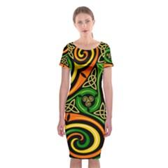 Celtic Celts Circle Color Colors Classic Short Sleeve Midi Dress