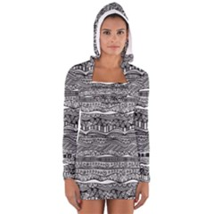 Ethno Seamless Pattern Long Sleeve Hooded T Shirt