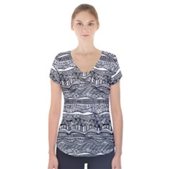 Ethno Seamless Pattern Short Sleeve Front Detail Top