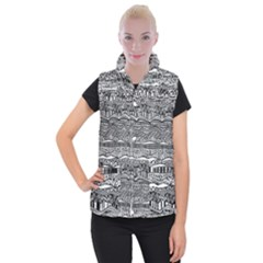 Ethno Seamless Pattern Women s Button Up Puffer Vest