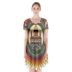 Building Mandala Palace Short Sleeve V Neck Flare Dress