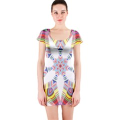 Colorful Chromatic Psychedelic Short Sleeve Bodycon Dress