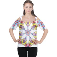 Colorful Chromatic Psychedelic Cutout Shoulder Tee