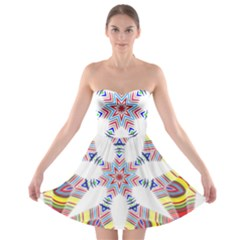 Colorful Chromatic Psychedelic Strapless Bra Top Dress
