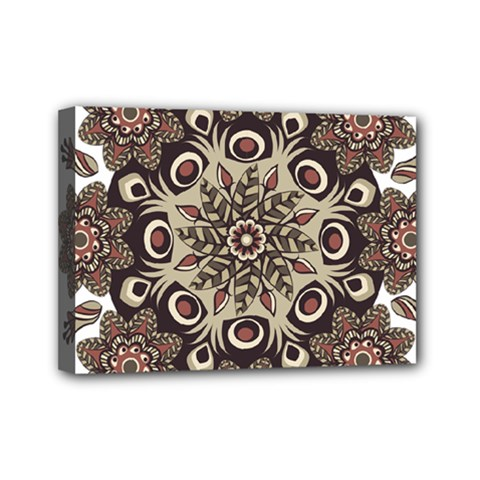 Mandala Pattern Round Brown Floral Mini Canvas 7  X 5