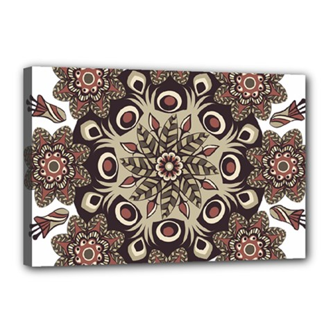 Mandala Pattern Round Brown Floral Canvas 18  X 12