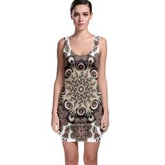 Mandala Pattern Round Brown Floral Bodycon Dress