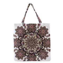 Mandala Pattern Round Brown Floral Grocery Tote Bag