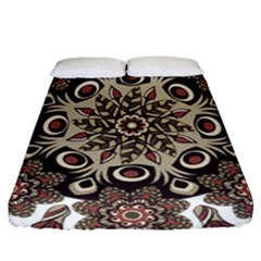 Mandala Pattern Round Brown Floral Fitted Sheet (queen Size) by Nexatart