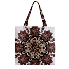Mandala Pattern Round Brown Floral Zipper Grocery Tote Bag by Nexatart