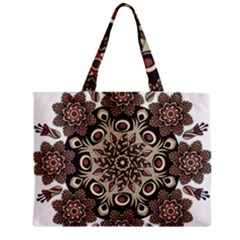 Mandala Pattern Round Brown Floral Zipper Mini Tote Bag