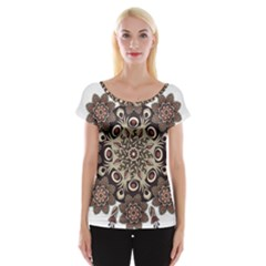 Mandala Pattern Round Brown Floral Cap Sleeve Tops
