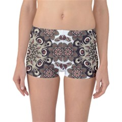 Mandala Pattern Round Brown Floral Reversible Boyleg Bikini Bottoms