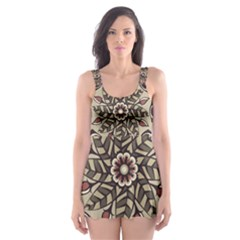 Mandala Pattern Round Brown Floral Skater Dress Swimsuit