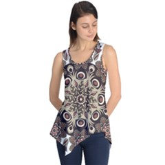 Mandala Pattern Round Brown Floral Sleeveless Tunic