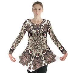 Mandala Pattern Round Brown Floral Long Sleeve Tunic