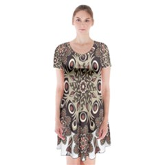 Mandala Pattern Round Brown Floral Short Sleeve V Neck Flare Dress
