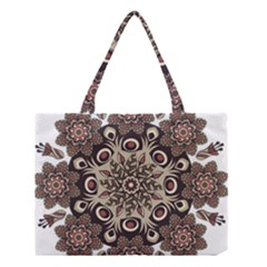 Mandala Pattern Round Brown Floral Medium Tote Bag