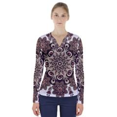 Mandala Pattern Round Brown Floral V Neck Long Sleeve Top