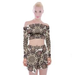 Mandala Pattern Round Brown Floral Off Shoulder Top With Skirt Set