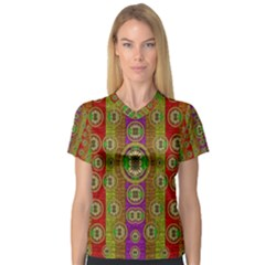 Rainbow Flowers In Heavy Metal And Paradise Namaste Style V Neck Sport Mesh Tee by pepitasart