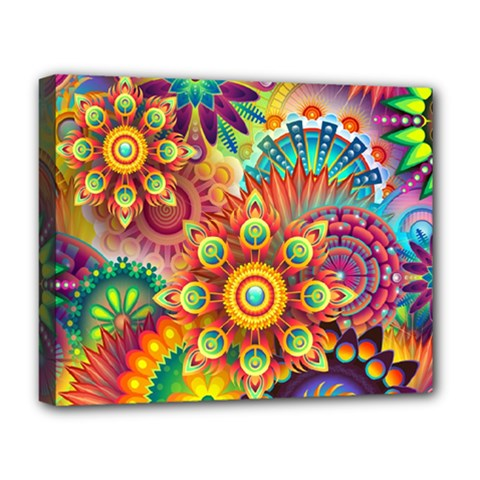 Colorful Abstract Pattern Kaleidoscope Deluxe Canvas 20  X 16   by paulaoliveiradesign