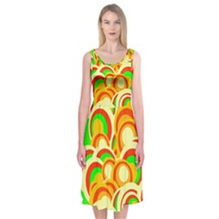 Retro Pattern 1973a Midi Sleeveless Dress by MoreColorsinLife