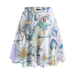 Funny, Cute Frog With Waterlily And Leaves High Waist Skirt by FantasyWorld7
