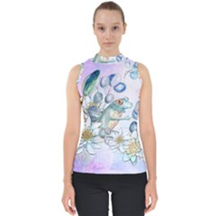 Funny, Cute Frog With Waterlily And Leaves Shell Top