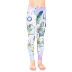 Funny, Cute Frog With Waterlily And Leaves Kids  Legging by FantasyWorld7
