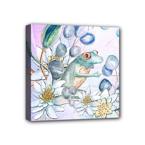 Funny, Cute Frog With Waterlily And Leaves Mini Canvas 4  X 4  by FantasyWorld7