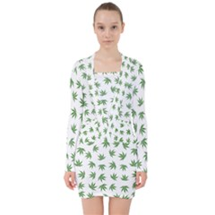 Marijuana Pattern V Neck Bodycon Long Sleeve Dress