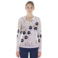Paws V Neck Long Sleeve Top