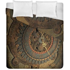 Steampunk, Awesoeme Clock, Rusty Metal Duvet Cover Double Side (california King Size)