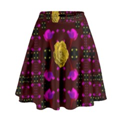 Roses In The Air For Happy Feelings High Waist Skirt by pepitasart