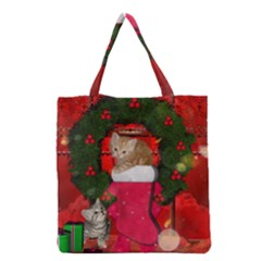 Christmas, Funny Kitten With Gifts Grocery Tote Bag by FantasyWorld7