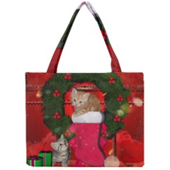 Christmas, Funny Kitten With Gifts Mini Tote Bag by FantasyWorld7