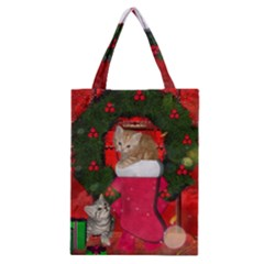 Christmas, Funny Kitten With Gifts Classic Tote Bag by FantasyWorld7
