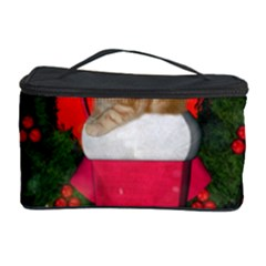 Christmas, Funny Kitten With Gifts Cosmetic Storage Case by FantasyWorld7