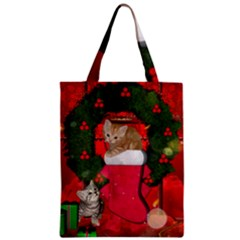 Christmas, Funny Kitten With Gifts Zipper Classic Tote Bag by FantasyWorld7