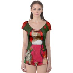 Christmas, Funny Kitten With Gifts Boyleg Leotard  by FantasyWorld7