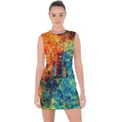 Orange Blue Background Lace Up Front Bodycon Dress by Costasonlineshop