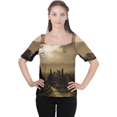 Borobudur Temple Indonesia Cutout Shoulder Tee