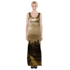 Borobudur Temple Indonesia Maxi Thigh Split Dress