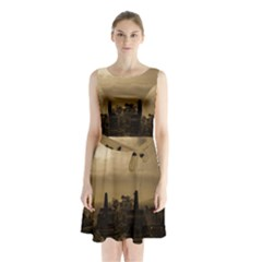 Borobudur Temple Indonesia Sleeveless Waist Tie Chiffon Dress