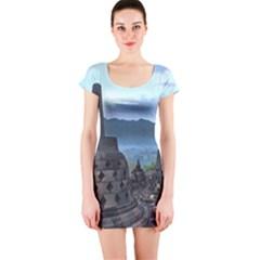 Borobudur Temple  Morning Serenade Short Sleeve Bodycon Dress